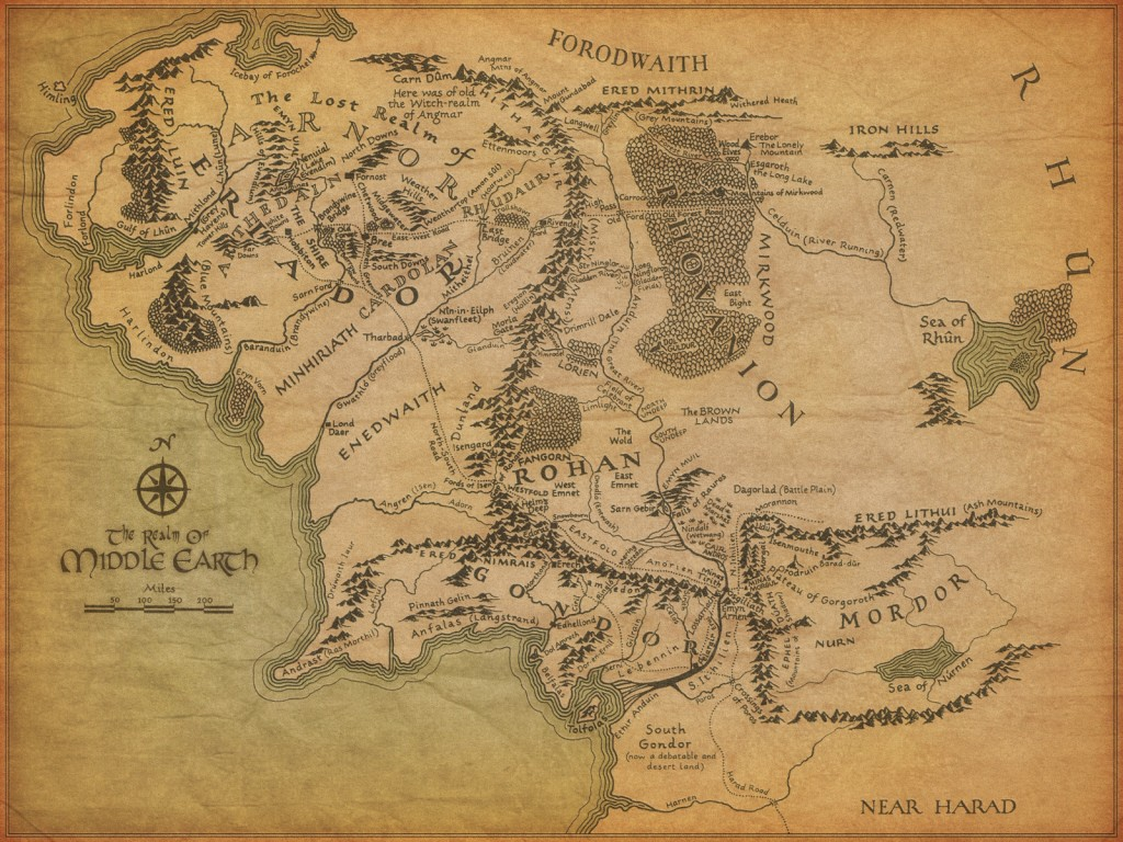 Kort over Tolkiens Middle Earth