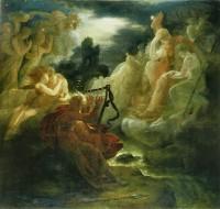 """Digteren Oisin opholdte sig ifølge irsk mytologi blandt Tuatha Dé Danann, men vendte gammel og ensom tilbage til menneskenes land, hvor magien var væk. (""""Ossian"""" af Francois Gerard, 1800)"""