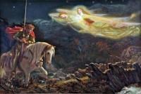 "Prærafaelitteren Arthur Hughes' ""Sir Galahad"" (1865-70) beretter om arthurdigtningens hellige gral."