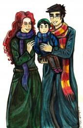Fanart af familien Potter af Elodie Tihange