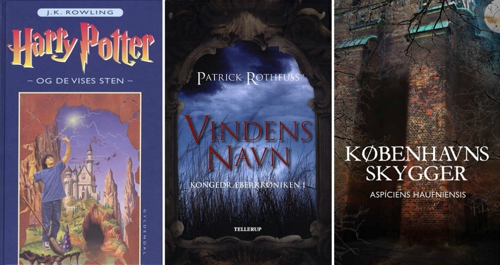 I både Harry Potter (Gyldendal år*), Vindens navn (Tellerup år*) og Københavns skygger (Ulven og Uglen 2015) går hovedpersonen på en skole for magikere.